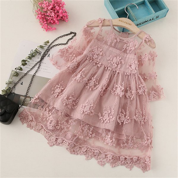BibiCola Ropa de niña de verano Vestidos de niños para niñas Vestido de flores de encaje Vestido de novia de fiesta de niña bebé Princesa de los niños
