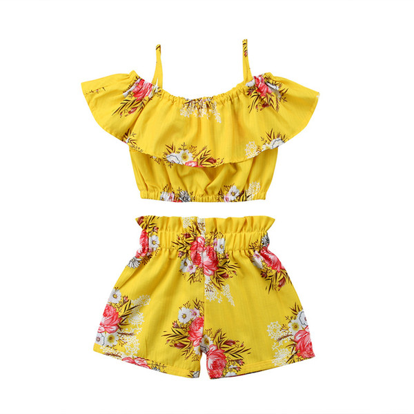 2018 New Baby Girls Outfits Flower Shorts Children Clothing Sets Fashion Summer Kids Clothes Printed Ruffle Tops + Shorts 2pcs Suits