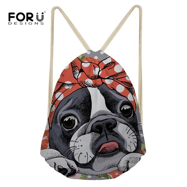 FORUDESIGNS Drawstring Bag Boston Terrier Printing Drawstring Backpack Women Storage Package String Bag Teens Girls Sack New