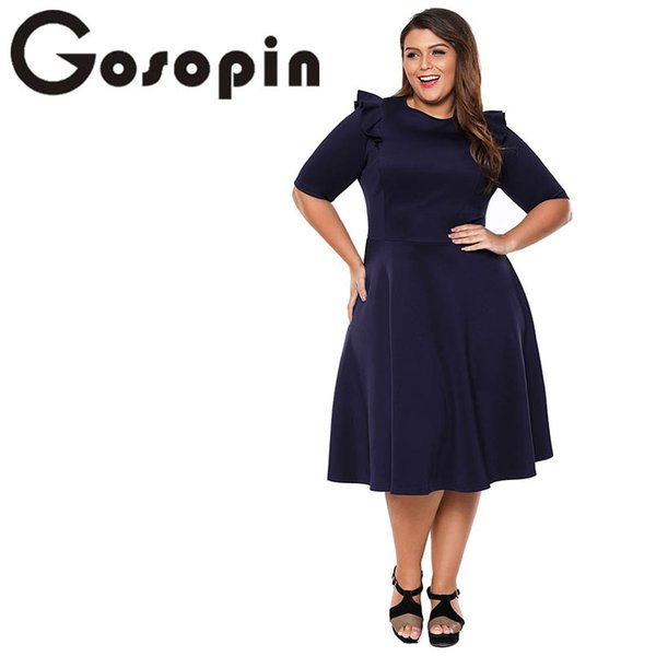 3520945a628ea 2019 Gosopin Plus Size Elegant Office Ladies Work Dresses Summer Ruffle  Half Sleeve Fashion Sexy Skater Club Dress XXXL Black LC61962 From Vincant,  ...