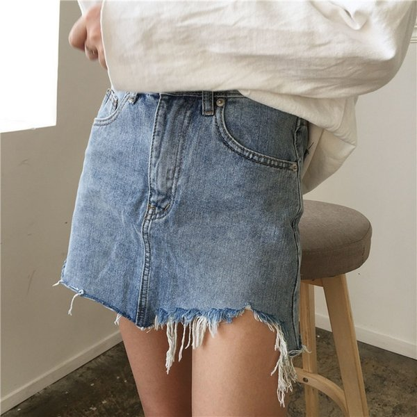 Summer Women Pencil Skirt High Waist Irregular Edges Washed Denim Skirts