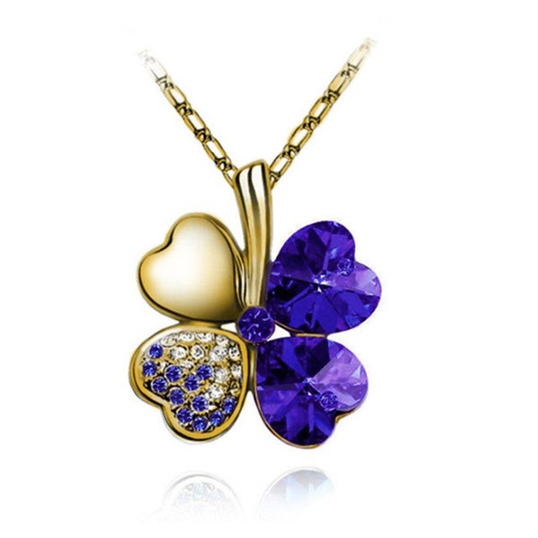 Women's Four-Leaf Grass Japan and South Korea Upscale Lady Necklace Accessories Alloy Crystal Necklace Birthday Gift Crystal Jewelry