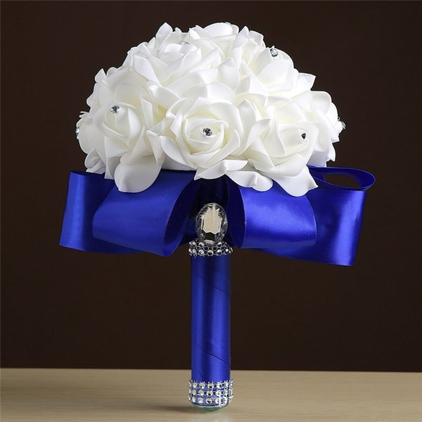 Cheap Handmade Bridesmaid Wedding Decoration Foam Flowers Rose Bridal Bridemaid Wedding bouquet White Satin Romantic Wedding bouquet CPA1549