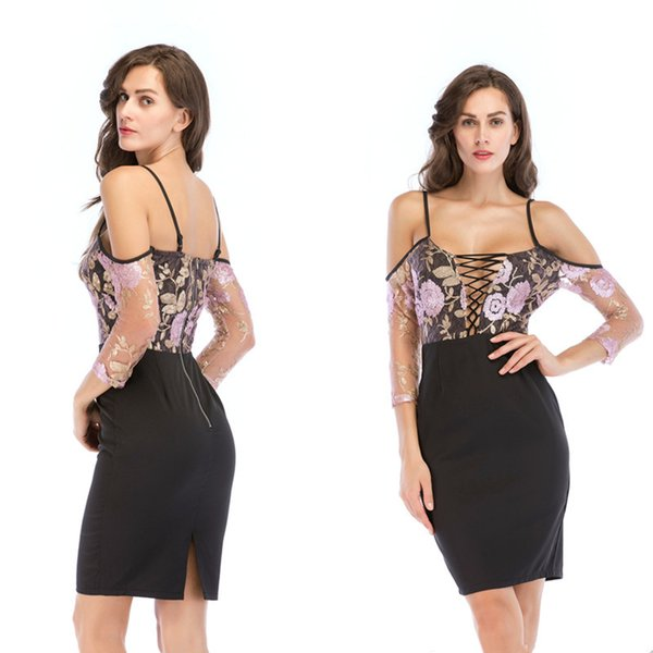 holographic shimmer lace up off the shoulder top summer sexy slit hem embroidery bodycon dress latest western dress patterns for ladies