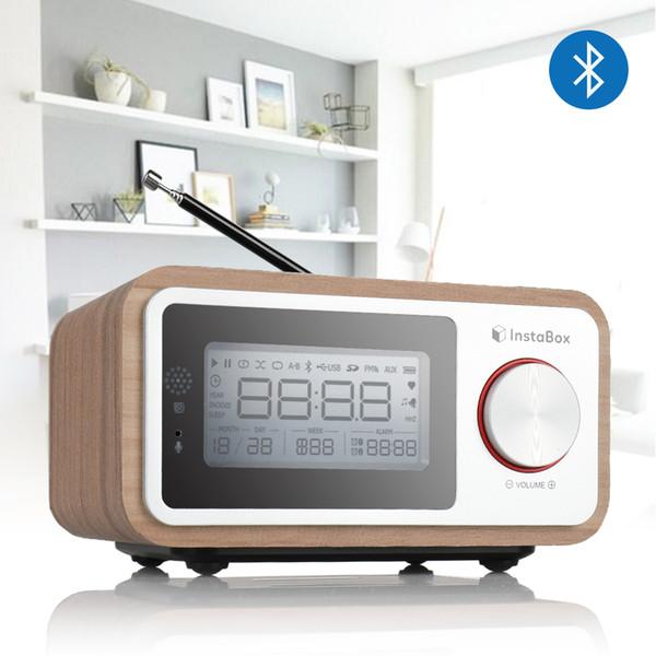 InstaBox i30 Wooden Clock Radio Portable Retro Bluetooth Speaker Digital FM Radio Multi-Functional MP3 Player Supports Micro USB