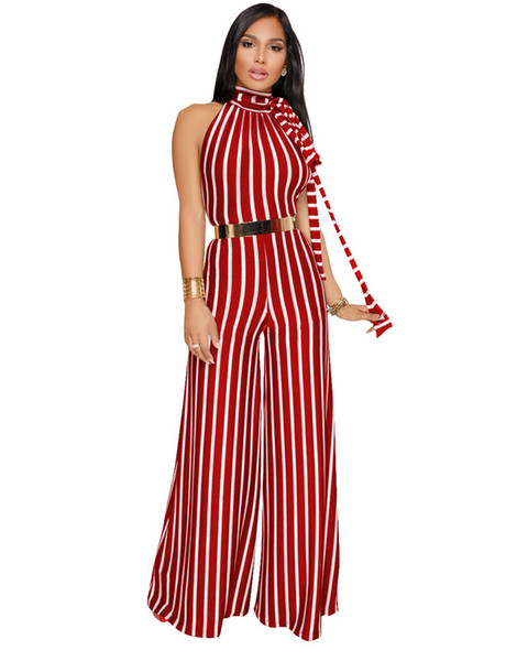 Wholesale Free Shipping Sexy multi stripe women backless romper warp high waist summer jumpsuit playsuit halter wide leg overalls