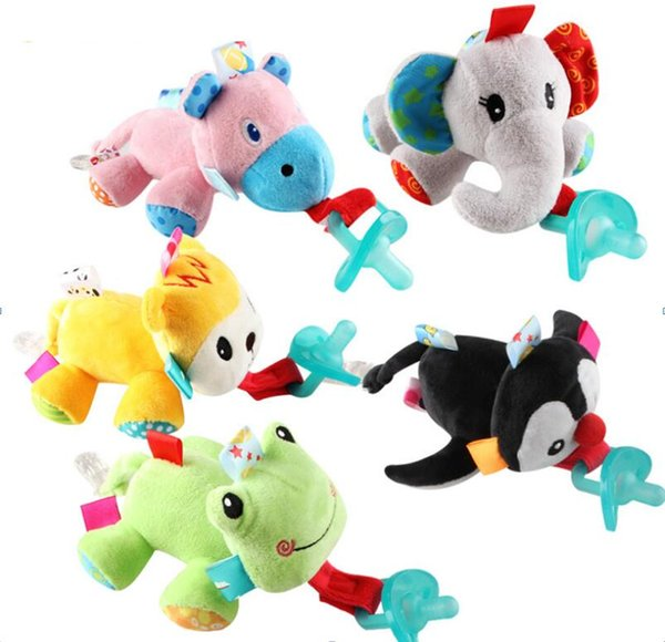 Newborn Infant Baby Soothie Boy Girl Silicone Pacifiers Cuddly Plush Animal Pets Kids Silicone Pacifiers Plush Animal