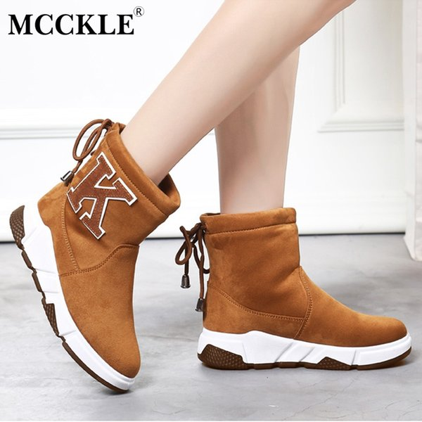 MCCKLE Women Casual Platform Flat Plush Warm Snow Boots Winter Female Lace Up Faux Fur Fashionable Ladies Leisure Footwear
