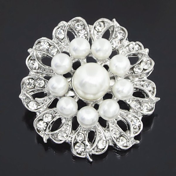High Quality Imitation Pearl Lovely Round Flower Brooch Stunning Clear Crystal Rhinestone Women Bridal Bouquet Broach Pin Special Collar Pin