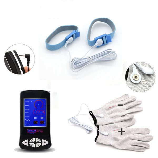 Massage Gloves Cock Rings Penis Rings Electric Stimulation Electro Shock Set Medical Themed Adult Sex Toys For Men Women Couples