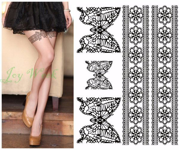 Waterproof Temporary Tattoo Sticker tatto sexy lace stocking with butterfly flash tatoo fake tattoos for girl women