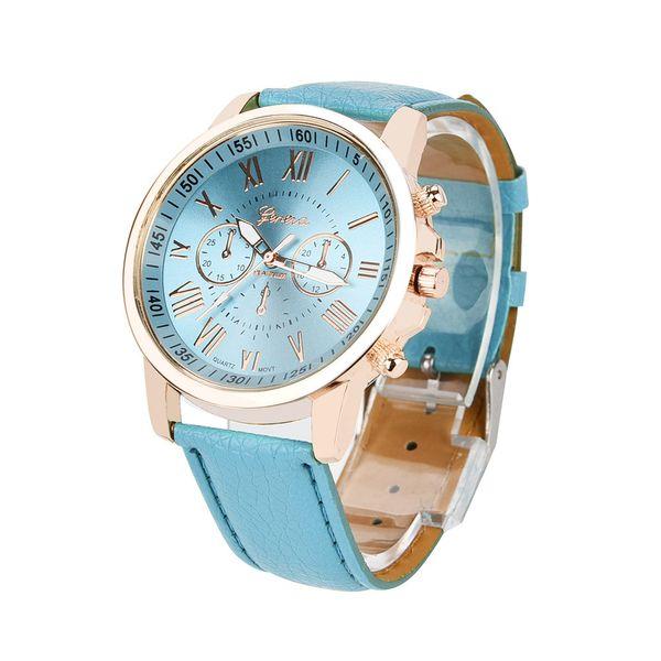 Women's Geneva Roman Numerals Faux Leather Analog Quartz Watch
