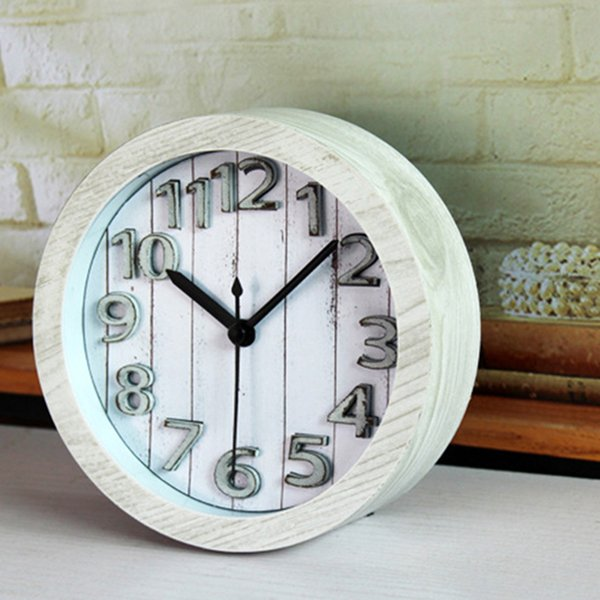 3D Wooden Alarm Clock Retro Style Desk Table Bedside Stand Clock Students Round Stand Mute Needle Alarm Home Decor