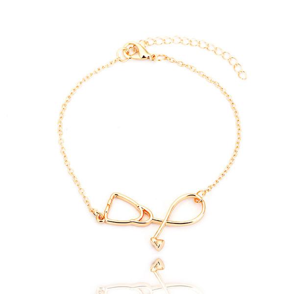 Großhandel Schmuck, Werbegeschenke, Gold, Silber, Rose Gold, koreanisches Stethoskop Armband, Damenmode Kette, Legierung Hand Link,