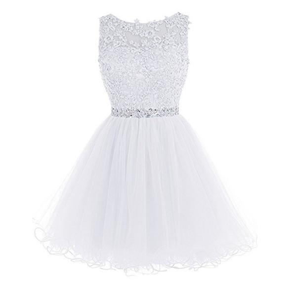 2018 Party Dresses Cute Pink Short Prom Dresses Cheap A-Line Mini Tulle Lace Beads Cap Sleeves Homecoming Dresses