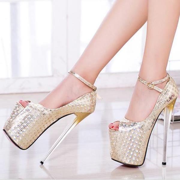 19cm Sexy Gold Paillette Ankle Strap High Heels Pumps Glitter Stiletto Platform Shoes Plus Size 34 To 40 41 42 43