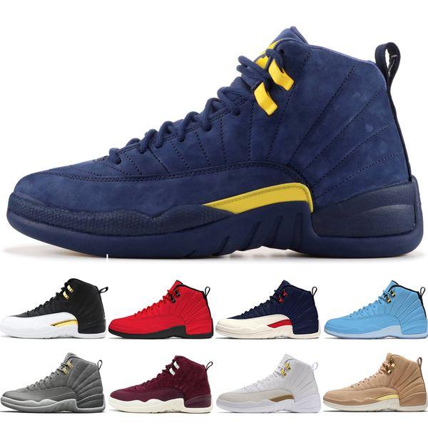 12 12s men basketball shoes Michigan Bulls College Navy UNC NYC Vachetta Tan Wheat Dark Grey Bordeaux Wings Flu Game mens Sports sneakers