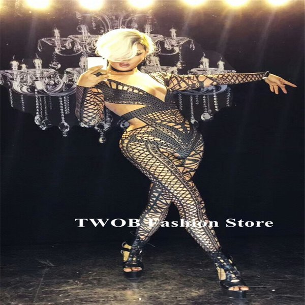 S93 Ballroom pole dancer costumes Rompers Shining stone black crystal Sexy jumpsuit stage wears bodysuit performance party dress clothes dj