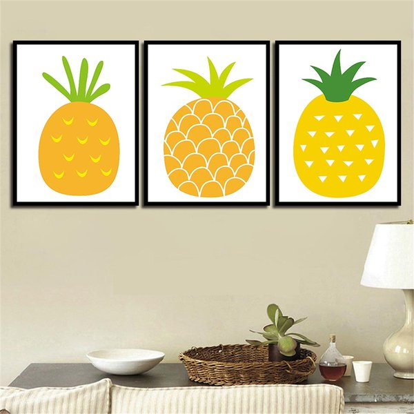 3 Piece Nordic Style Cartoon Pineapple Poster Simple Canvas Art Print Painting Child Gifts Nursery Room Wall Pictures Home Decor