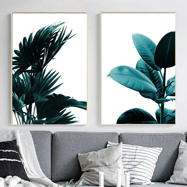 Green Tropical Leaf Plant Wall Art Canvas Painting Posters And Prints Nordic Poster Flowers Wall Pictures For Living Room Decor
