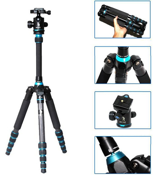 BEIKE BK-777C Carbon Fibre Travel Folded Tripod With Ball head Monopod For DSLR Camera Nikon Canon Sony Olympus