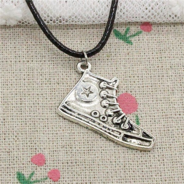 Creative Fashion Antique Silver Pendant basketball shoes 30mm Necklace Choker Charm Black Leather Cord Handmade Jewlery