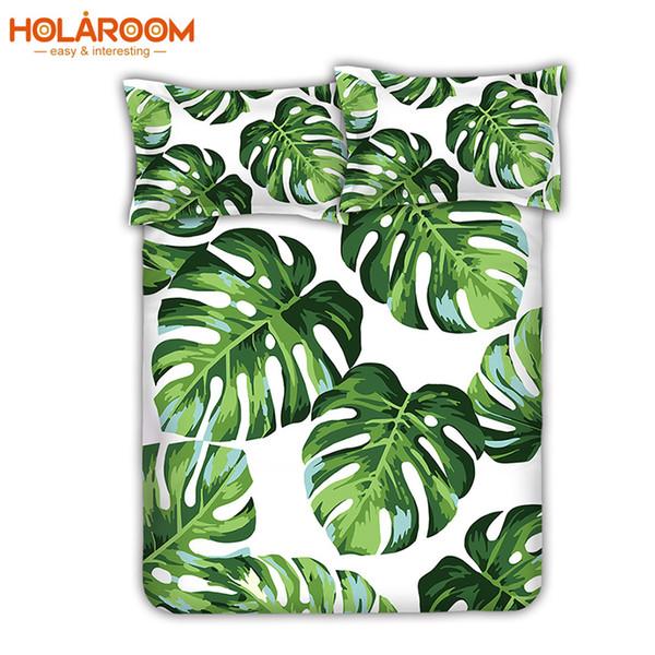 Großhandel New Cotton Bettwäsche Set Tropical Banana Blätter Und Palm Blätter Druck Bettwäsche 3Blatt Bettwäsche Für Twin Queen Size Von Copy03,