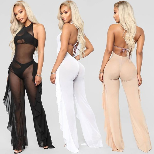 Sexy Mesh Perspective Halter Backless Club Catsuits Women Double Side Ruffles Details Sleeveless Long Jumpsuit One Piece Romper
