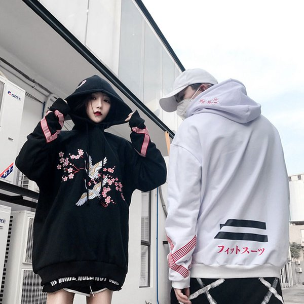 Cranesembroidered Flowers Add Hair Thickening Hooded Fleece Single Men And Women Lovers Loose Bf Hip -Hop Cap Unlined Upper Garm