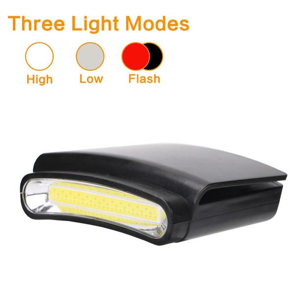 COB LED Cap Light Clip sur chapeau phare phare pour nuit pêche Randonnée Camping travail tête lampe de poche lampe de poche avec 3 * 3A batterie
