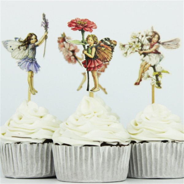 24pcs/set Flower Fairy and Little Girl Cake Decoration Cupcake Topper Inserted Card Stands Baking Kids Birthday Party Supplies