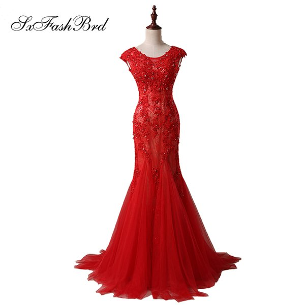 Girls Dress Elegant Sexy O Neck With Appliques Open Back Mermaid Tull Red Long Party Formal Evening Dresses for Women Prom Dress Gowns