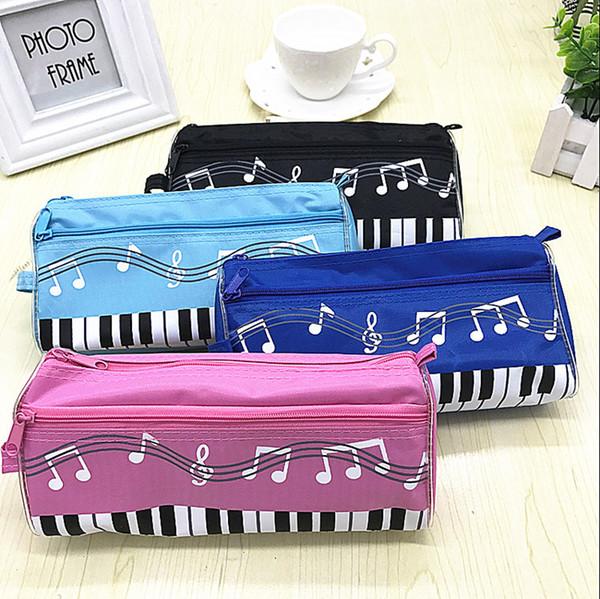 Music Theme Keyboard Pencil Case Waterproof Zipper Pen Bag 5 Colors with Cartoon Music Note Pencil Ruler Gift