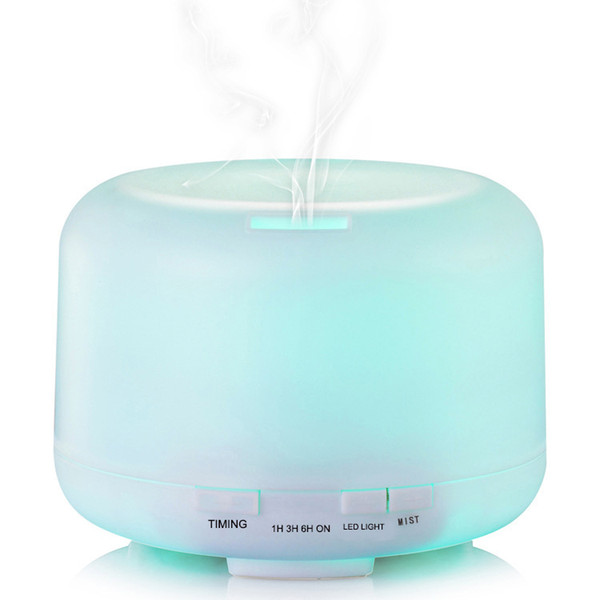 500 ml Óleo Essencial Difusor de Umidificador de Ar Aroma Difusor de Aroma Lâmpada Aromaterapia Elétrica 7 Cores de Luz LED