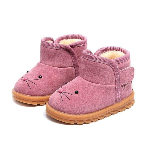 Winter Girls Boot Boys Snow Boots Children Ankle Plush Cotton Padded Suede  Warm Booties Fashion Baby Shoe Sneakers Little Girls Winter Boots Girls