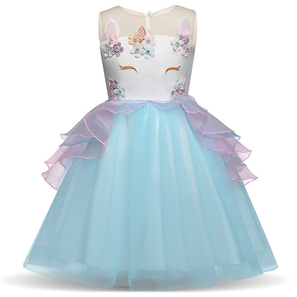 Toddler Girls Unicorn Dress 4 Colors Sleeveless Embroidered 3D Unicorn Princess Dresses Wedding Dress Summer Performance Skirt 3-7T