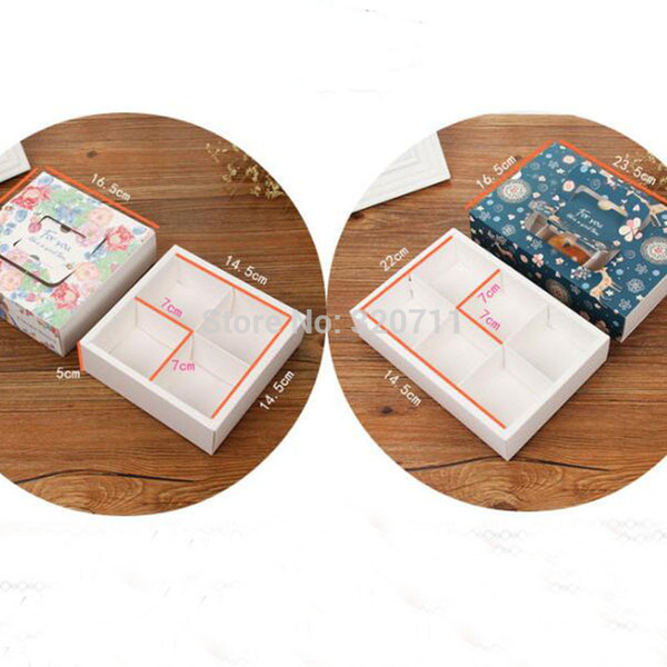 50 unids Moda Portátil Flor Wapiti Elk Diseño Hornear Torta de la Luna Caja de Regalo Cajón de Regalo Para Yema De Huevo Crujiente Galleta Para Llevar