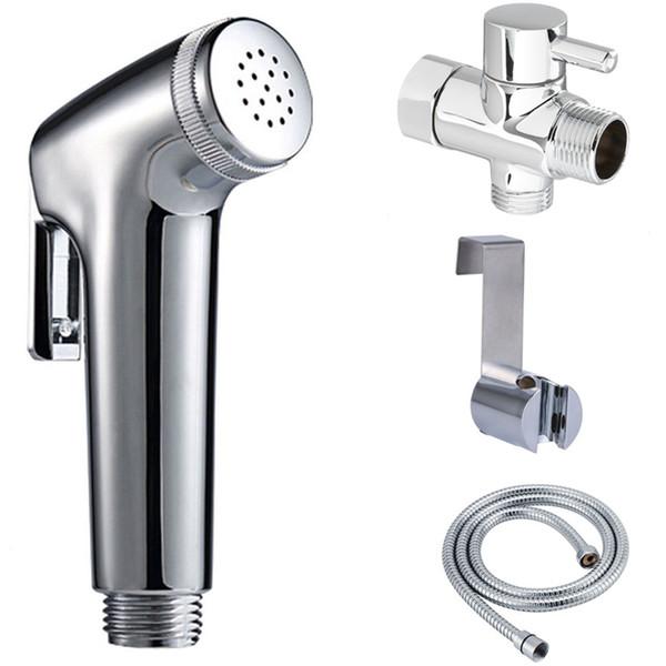 best selling Diaper Hand Held Toilet Bidet Sprayer Douche Shattaf Shower Spray Stainless Steel Hose Holder Set Chrome Finish