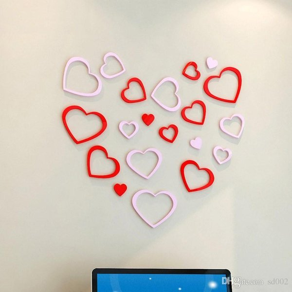 TV de fondo pasta de pared 3D estereoscópica Pegatinas de pared Práctico hogar embellecer la decoración para el día de San Valentín amor en forma de corazón 3 6yj B