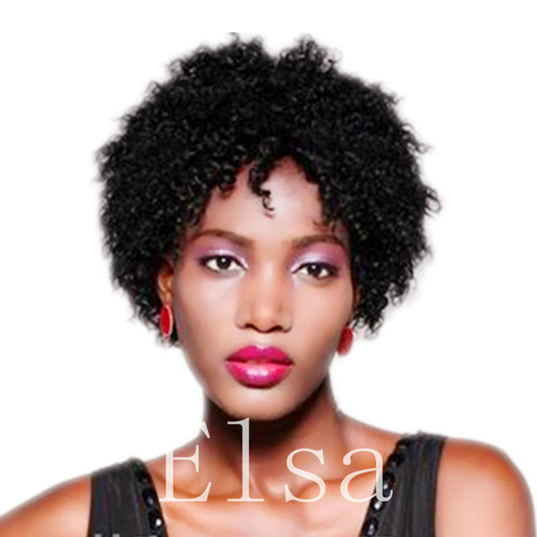 Hot selling Afro Kinky Curly Wig Human Hair short Kinky Curly Full Wigs with bangs in stock