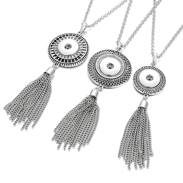 New Long Tassel Snap Button Necklaces 18mm Noosa Chunk Buttons Jewelry Interchangeable Bohemia Sweater Chain Necklace