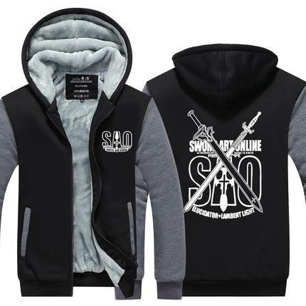 Men Velvet Thicken Hooded Sweatshirts Sword Art Online SAO Cosplay Zipper Hoodies Winter Cardigan Jacket Coat Pullover USA EU Size Plus Size