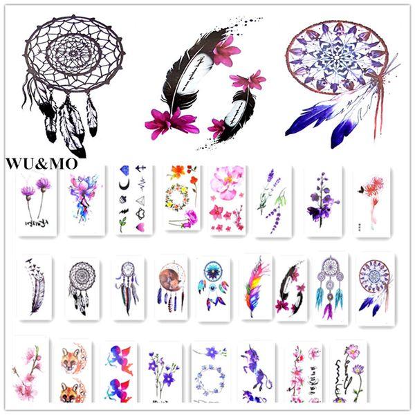 12 Colors Lovely Waterproof Temporary Tattoo Dreamcatcher Feather Tatoo Henna Fake Flash Tattoo Taty Tattoos