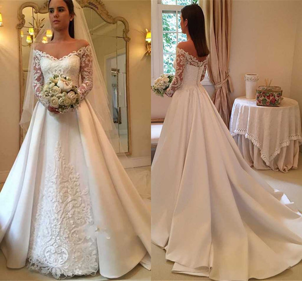 2018 Elegant White A-Line Wedding Dresses Off-Shoulder Long Sleeve Lace Appliques Sexy Back Button Bridal Dresses Charming Wedding Gowns