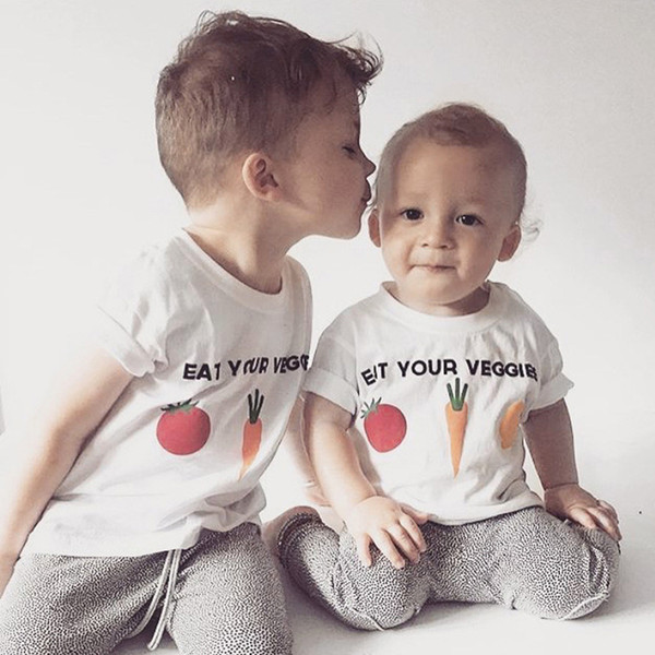 New Baby Boys Girls Cartoon Vegetables Design T-Shirts Children Summer Black White Color Tops 1-6Y With Short Sleeve Tee ZX274
