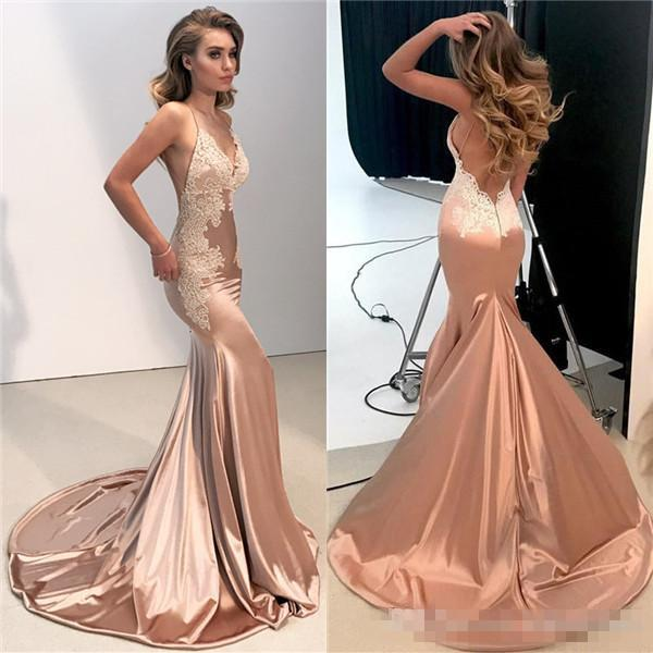 Sexy V Neck Backless Lace Prom Dress 2018 Mermaid Spaghetti Straps Long Evening Party Gowns Appliques Fitted Cheap Bridesmiad Wears
