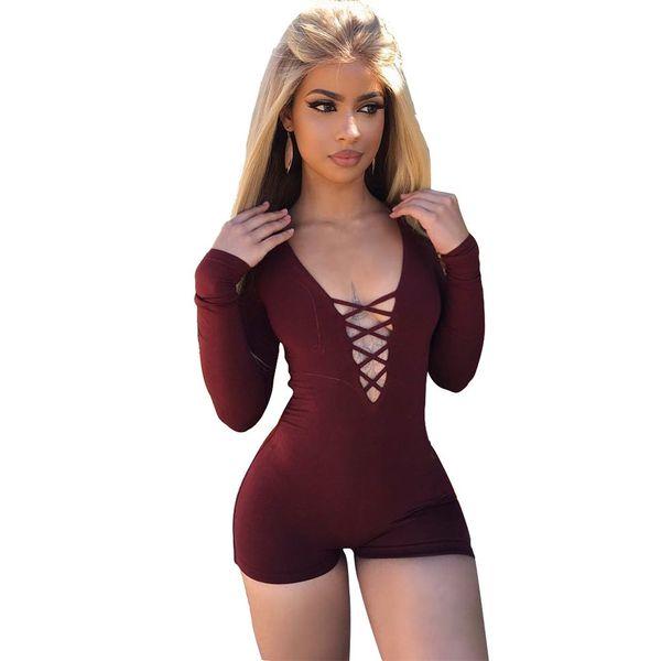 5 couleurs 2018 Summer Rompers Femmes Combinaison Sexy Front Lace Up Bodycon Court Combinaison Body Slim Romper