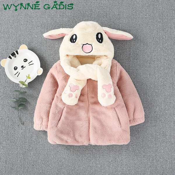 Winter Infant Girls Fleece Cartoon Rabbit Hooded Zipper Jacket Princess Party Outerwear Kids Baby Coats roupas de casaco