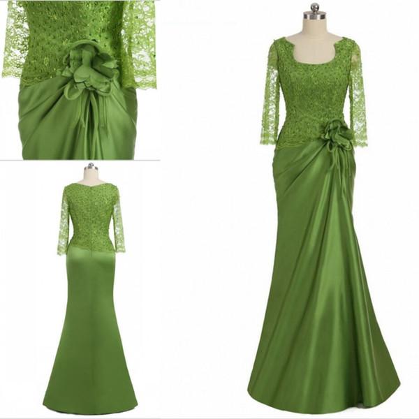 Elegant Lace Mother of the Bride Groom Dresses Custom Made Scoop Neckline Appliques Mermaid Floor Length Formal Dress Long Sleeves