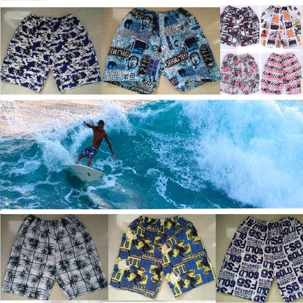PTYHR Summer Swim Trunks Men Surfing Beach Board Shorts Waist Drawstring Quick Dry